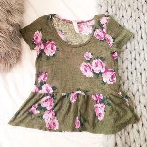 Nordstrom floral short sleeve blouse